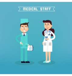 Medical staff nurse and doctor hospital vector