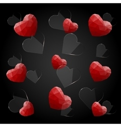 Glass and red polygonal hearts vector image