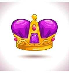 Fancy cartoon golden crown icon vector