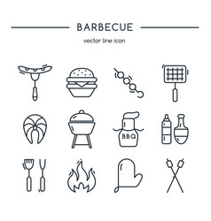 barbeque icons line set vector image