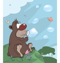 Bear cub and soap bubbles cartoon vector image