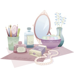 beauty accessories vector image vector image