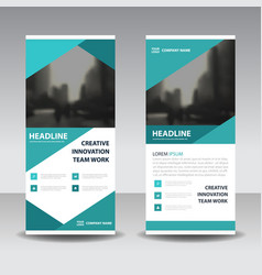 Blue business roll up banner flat design vector