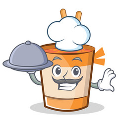 Chef cup noodles character cartoon vector