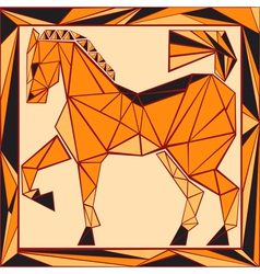 Chinese horoscope stylized stained glass horse vector image