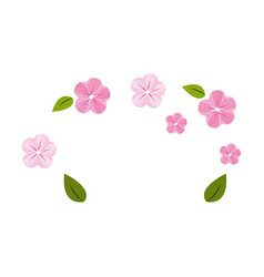 cute flowers with leaves decoration vector image