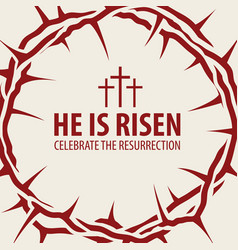 easter banner with crown of thorns and inscription vector image vector image