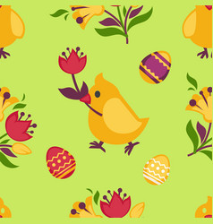 easter seamless pattern with yellow chicken and vector image vector image