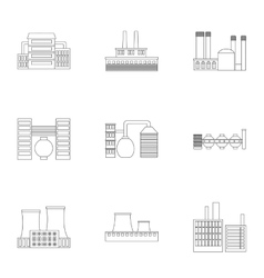 Factory set icons in outline style big collection vector
