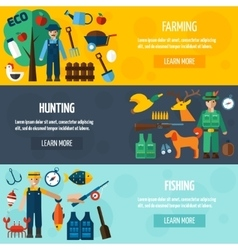Fisherman hunting and farmer banner set vector