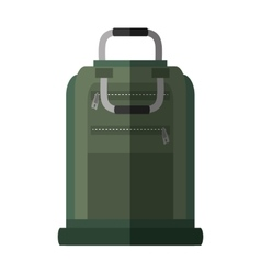 Green suitcase packback travel bag tourist shadow vector