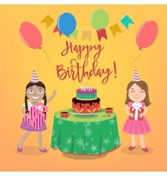 Happy birthday greeting card with cake vector