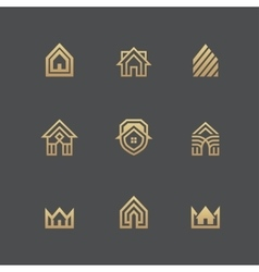 Houses logo set on black background vector