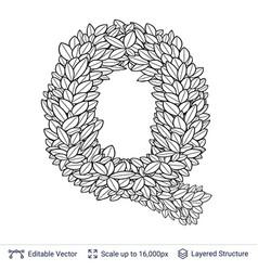 Letter q symbol of white leaves vector
