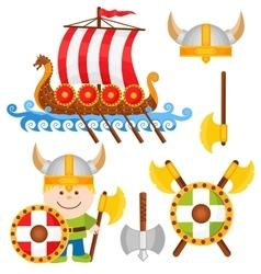 Little Viking Cartoon Icon Set vector image