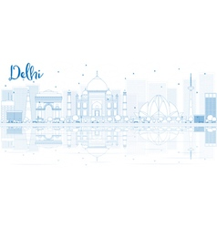 Outline delhi skyline with blue buildings vector