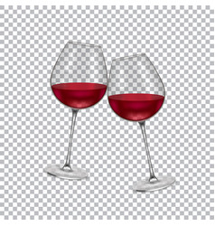 realistic glass with wine on a transparent vector image vector image