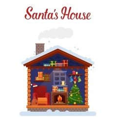 Santa claus home or house 2017 new year and xmas vector image