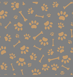 seamless pattern of paws and bones vector image vector image