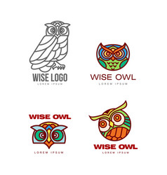 Set of colorful and outlined owl logo templates vector