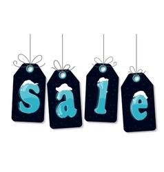 Snow sale tag hangig vector image