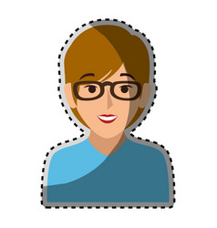 Sticker colorful half body woman with short hair vector