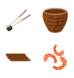 sticks shrimp substrate bowlsushi set vector image