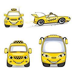 taxi cartoons vector image vector image