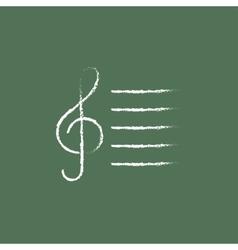 Treble clef icon drawn in chalk vector