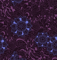 Violet pattern with bird Phoenix and sunflower vector image