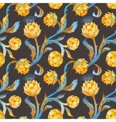 Watercolor art nouveau artichoke pattern vector image vector image