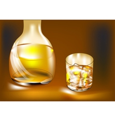 Whisky bottle and glass vector