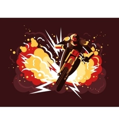 Stuntman on motorcycle vector