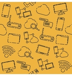 Internet and technology pattern vector image