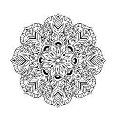 Zentangle Mandala in monochrome doodle style Hand vector image
