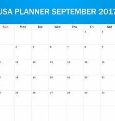 Usa planner blank for september 2017 scheduler vector