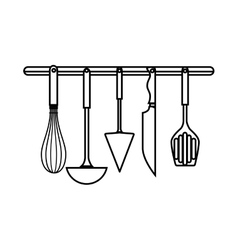 Set cutlery kitchen tool isolated icon vector