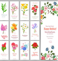 Romantic collection invitation cards with graceful vector