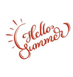 hello summer words on white background frame vector image