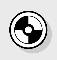 Cd or dvd sign flat black icon in vector