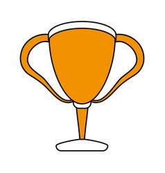 Color silhouette with trophy cup vector