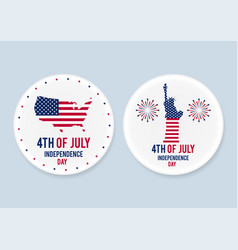 White steel patriotic pin badges set 4th of july vector