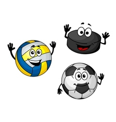 Hockey puck volleyball and soccer balls vector