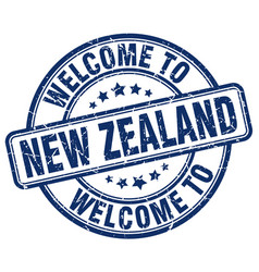 Welcome to new zealand blue round vintage stamp vector