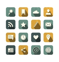 Vintage social media icons set vector