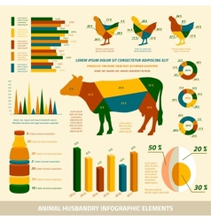 Animal husbandry infographics flat design elements vector