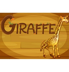 A wooden frame with a giraffe vector image