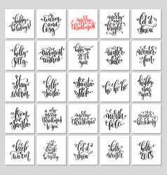 25 hand lettering poster set to christmas holiday vector