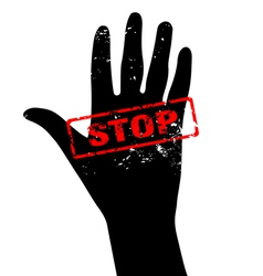 Hand raised with stop sign vector
