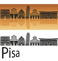 Pisa skyline in orange background vector
